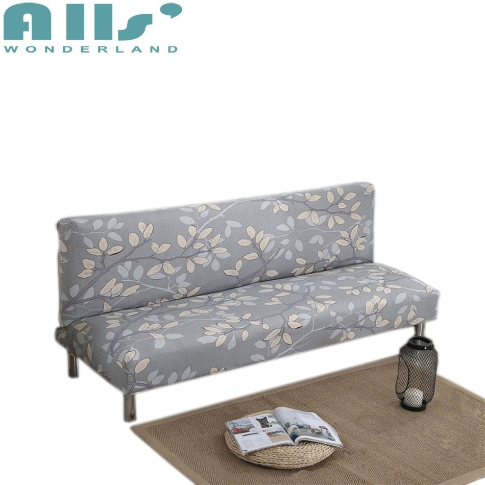 Grey Armless Couch Sofa Bed Covers Leaves Patterns Printed Sofa