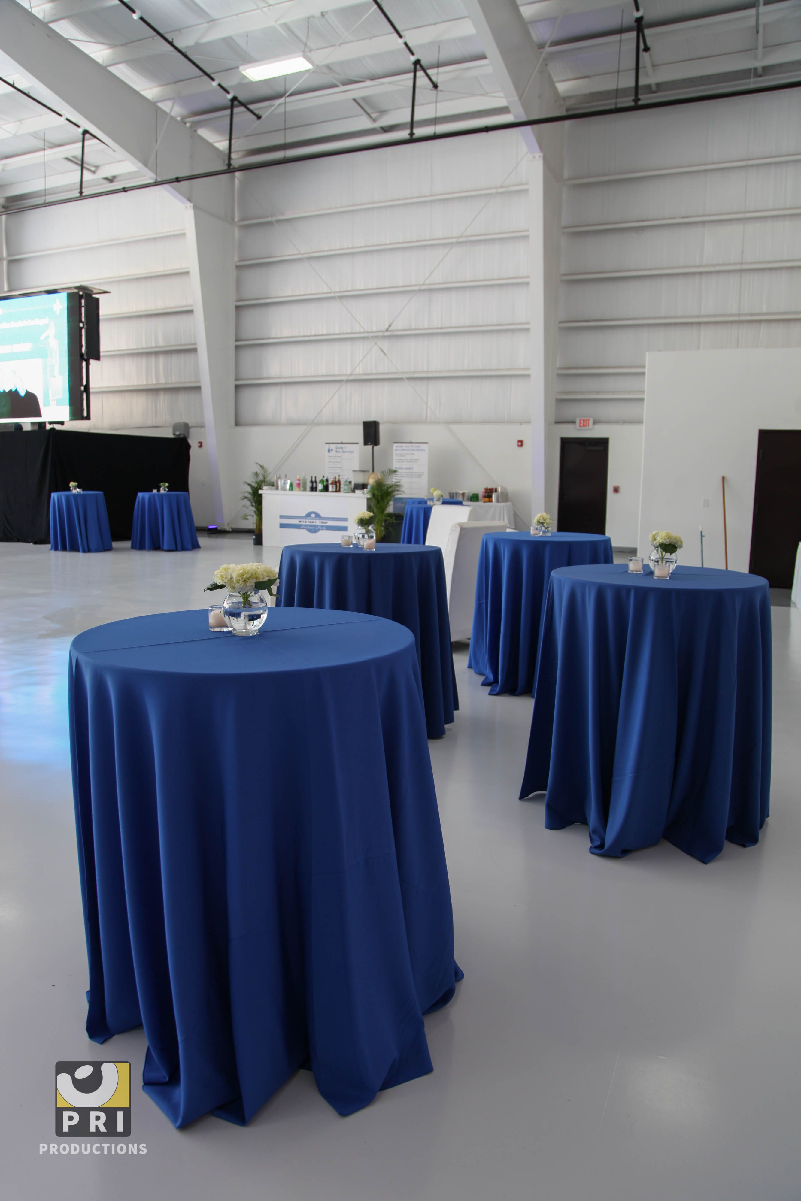 Highboy Tables With Blue Table Linens Blue And White