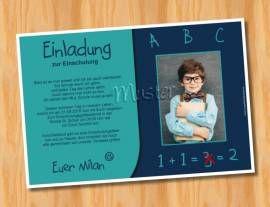 Einladungskarten Einschulung Schulanfang MUSTER 54 Bild