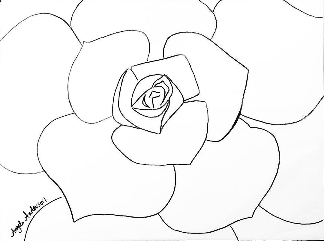 succulent greenery traceable coloring sheet angelafineart