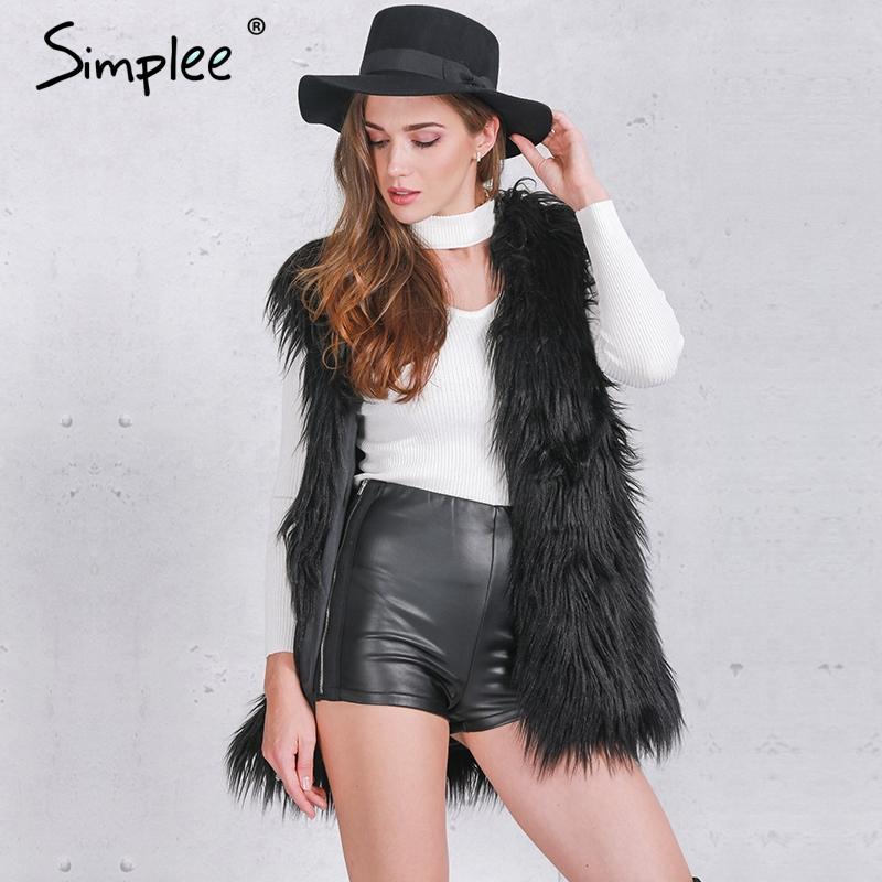 36945997194 Simplee Fluffy black faux fur vest waistcoat Autumn winter sleeveless  outerwear women coats Soft white hairy overcoat  31