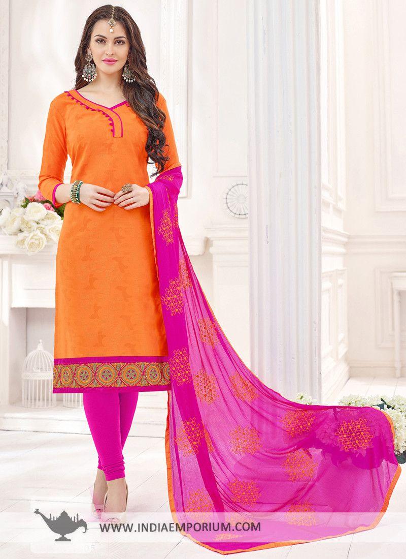 9179a2c2e1 Striking Orange & Pink #Bombay #Jacquard #Churidar #Suit | Beautiful ...