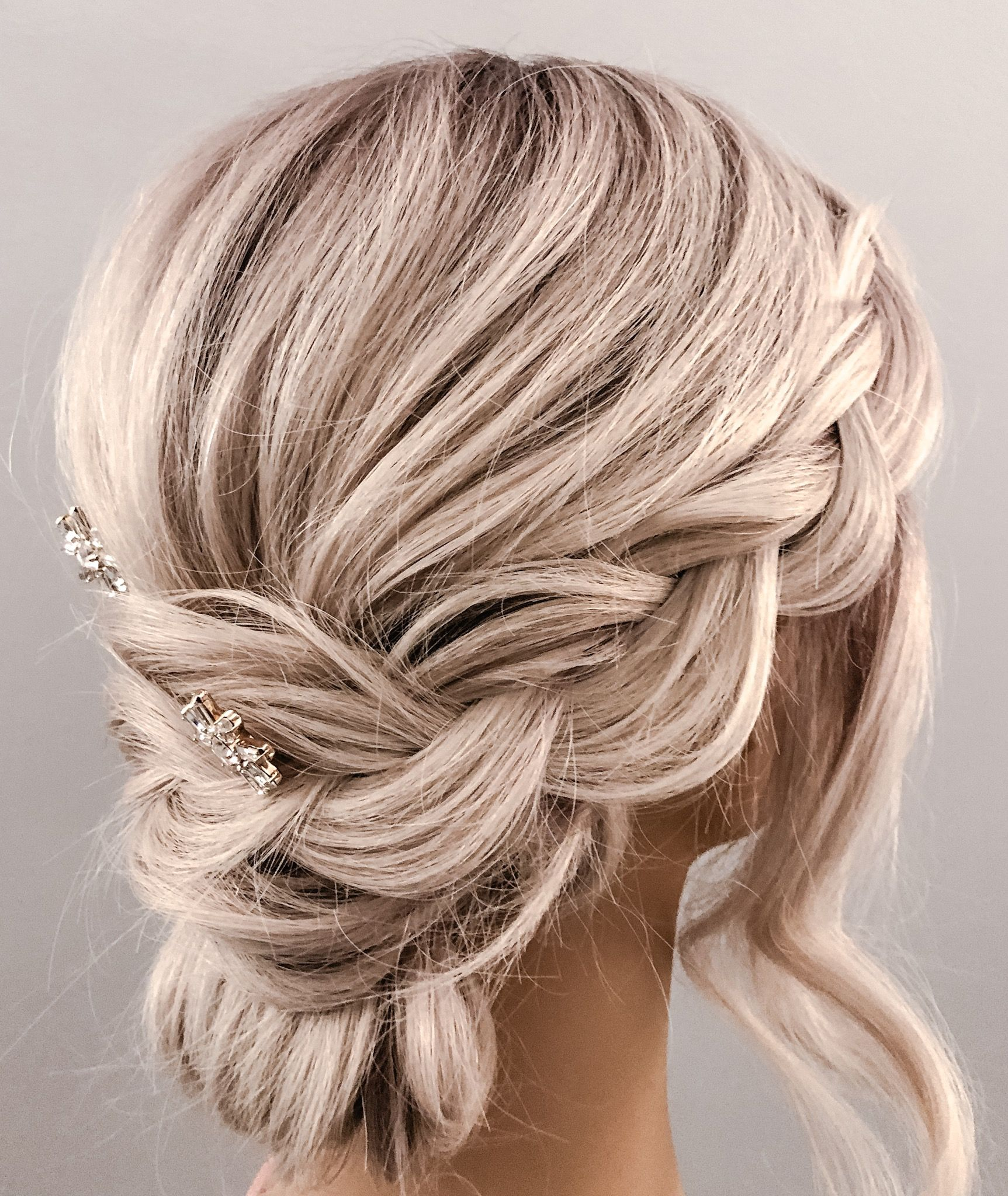 Loose Braided Updo On Platinum Blonde Hair Hairbysare