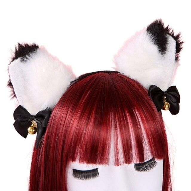 Photo of Women Sweet Lovely Anime Lolita Headband Cute Furry Plush Cat Ears Hair Hoop with Bowknot Small Bells Fancy Dress Cosplay Party – 22