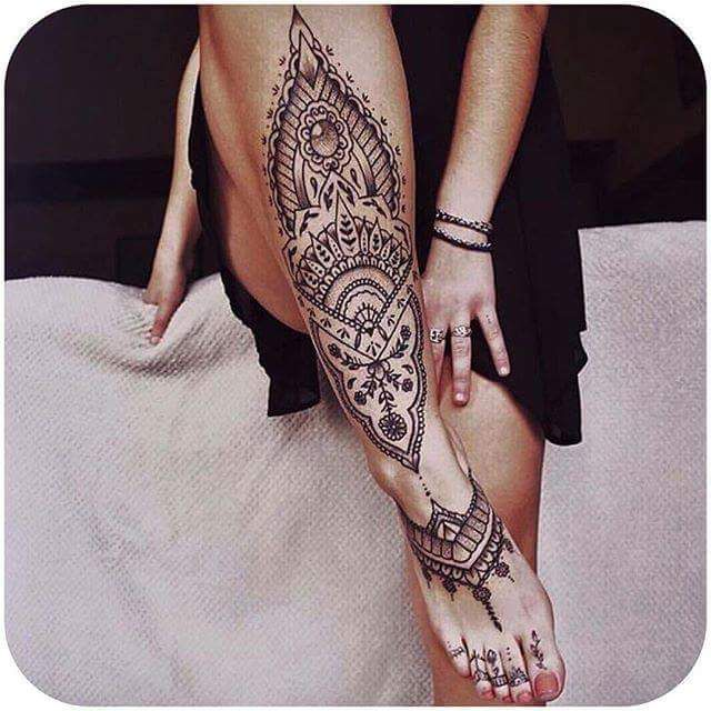 Leg And Foot Tattoo Mandala Tattoos Tattoo Ideen Tattoo Fuss
