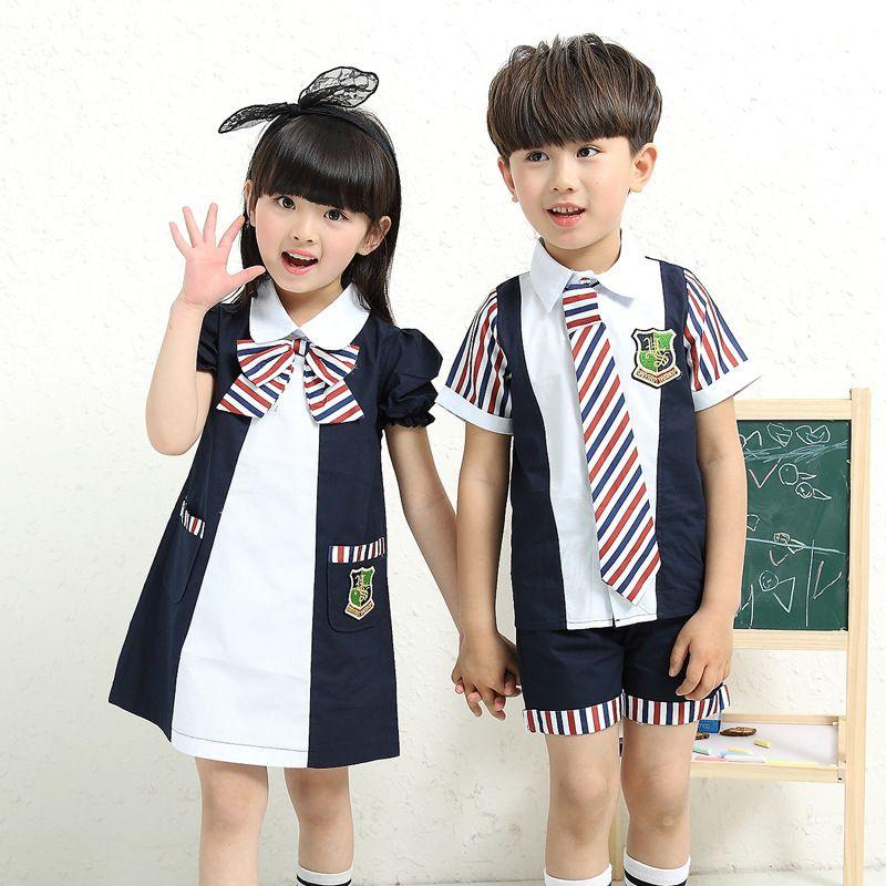 0c6cea28b9a4 Kindergarten summer 2017 boys girls short-sleeved pupils school uniforms  summer new style children s clothing  Affiliate