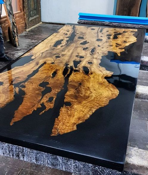 Olive Epoxy Resin Table With Olive Epoxy Consol Live Edge