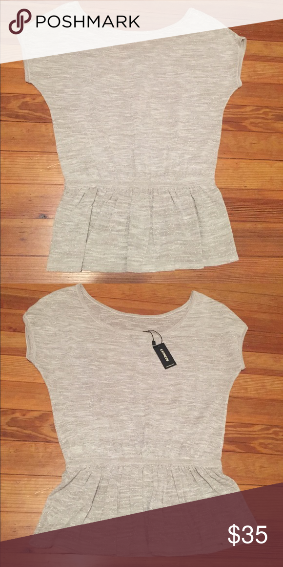 Brand new with tags, tan and gray shimmer top Brand new, never worn! Super cute from Express. Scoop neck with elastic near the waist. Express Tops Tees - Short Sleeve