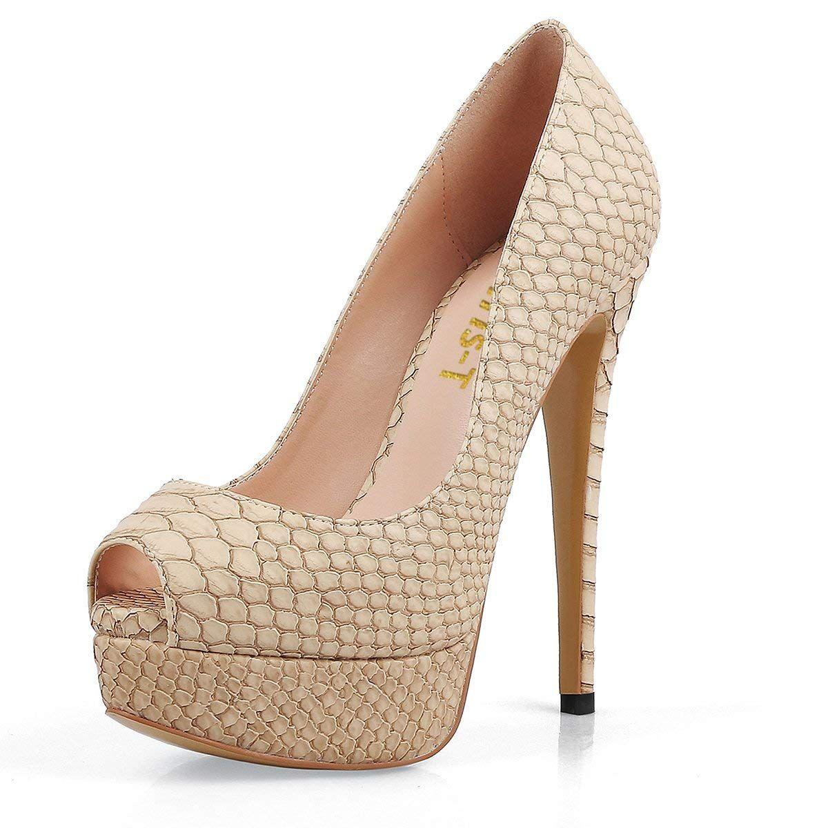 a85ed2c82c86 Chris-T Womens Sexy Slip On High Heels Peep Toe Platform Pumps Stiletto  Dress Wedding Shoes