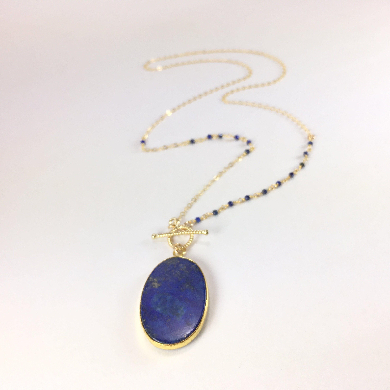 Gold Lapis Lazuli Pendant Necklace By Blingniks On Etsy Lapis Pendant Gemstone Necklace Lapis Lazuli Pendant