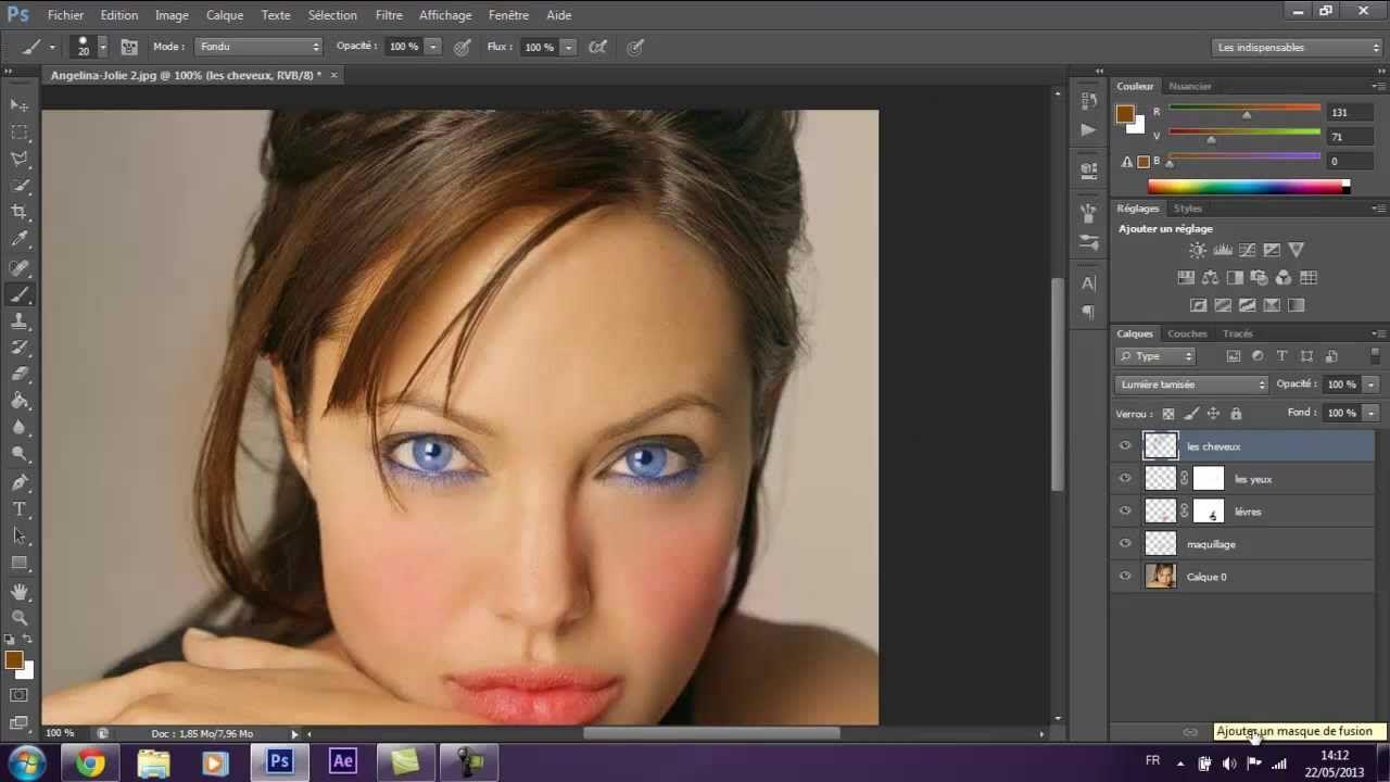 Changer couleur cheveux noir photoshop