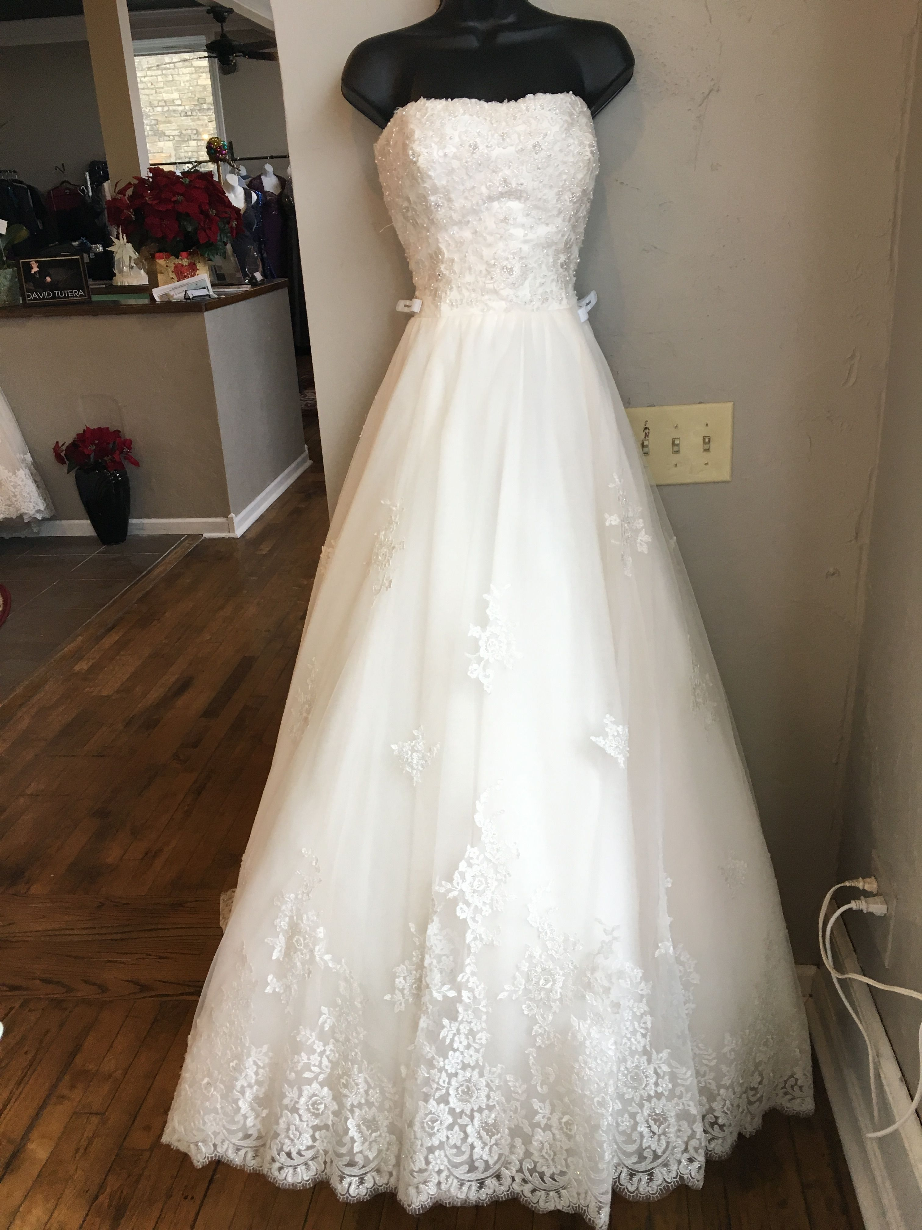 Pictured In Ivory Stone Also Available In White Or Ivory Dress Is Lace And Tulle Bridal Gowns Wedding Dresses Wedding Dresses Lace