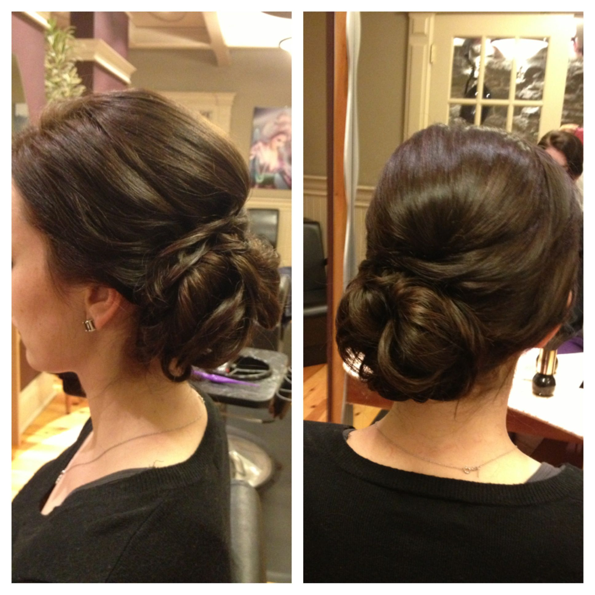 Wedding Style Hair Bun Brunette Upstyle