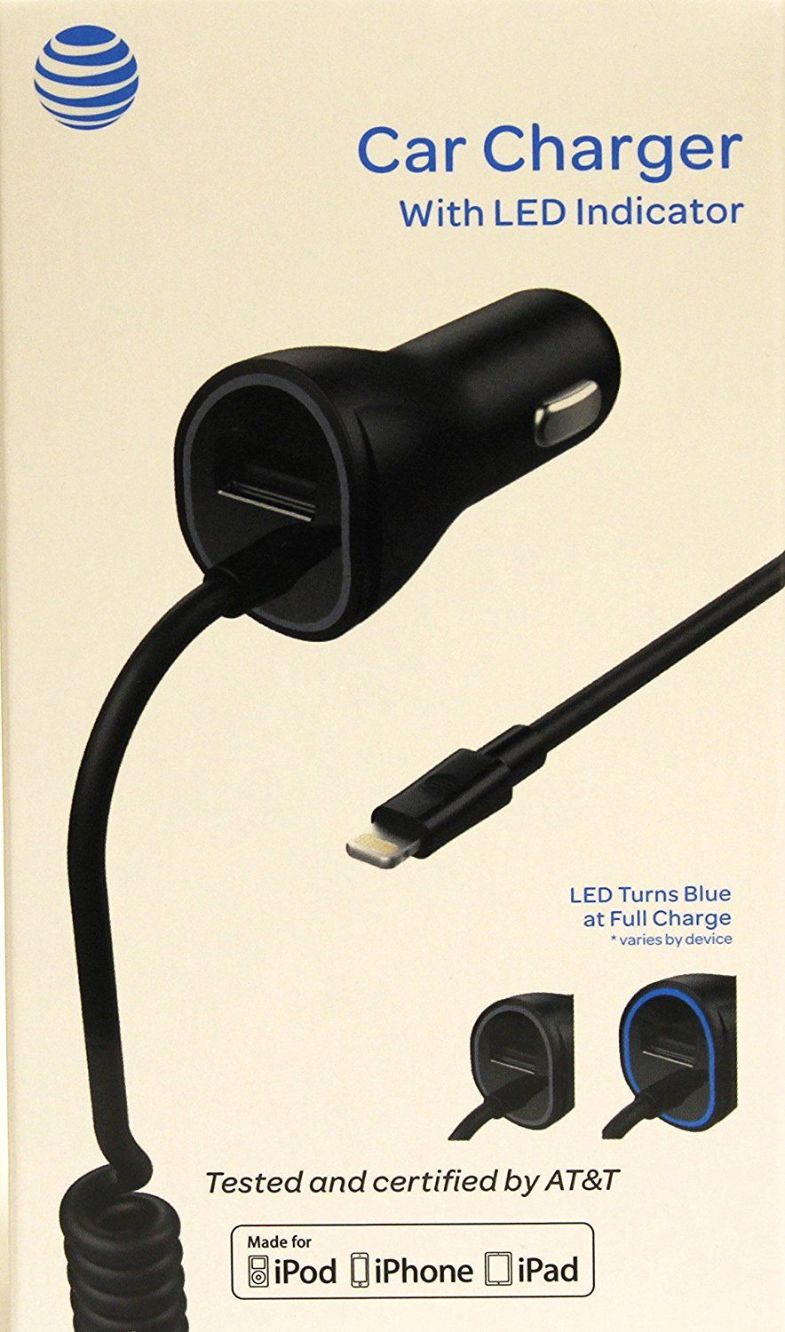 Atandt 4903g 3 4 Amp Mfi Lightning Rapid Car Charger With Smart Led