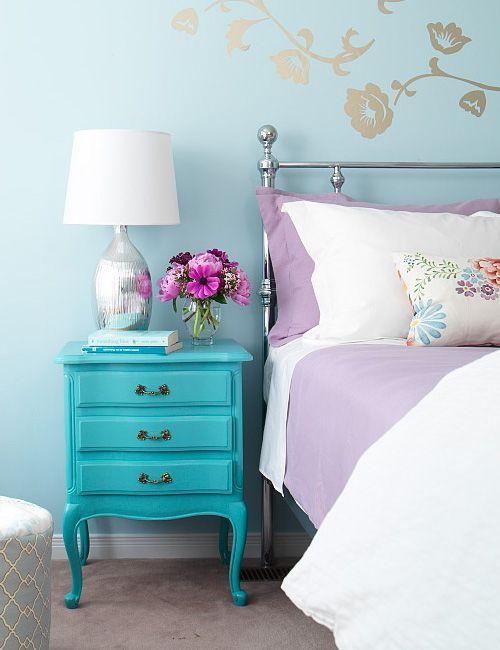 Dormitorio en lila y verde-azulado para un look primaveral | Lillac ...