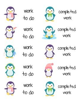 """Super cute Penguin labels!!!  You can use these labels a variety of ways.  I use them on my center folders.  A lot of my centers are inside of pocket folders.  On the front cover I would put my """"center directions"""".  On one of the inside pockets I label  it """"work to do""""."""