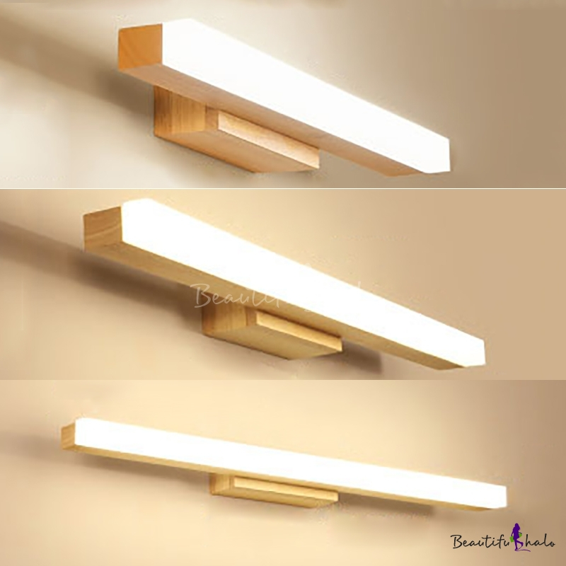 Wood Linear Led Vanity Lighting 16 23 5 31 5 Inch Nordic Style Waterproof Wall Light In Beige For Dressing Room Vanity Lighting Led Vanity Lights Led Vanity