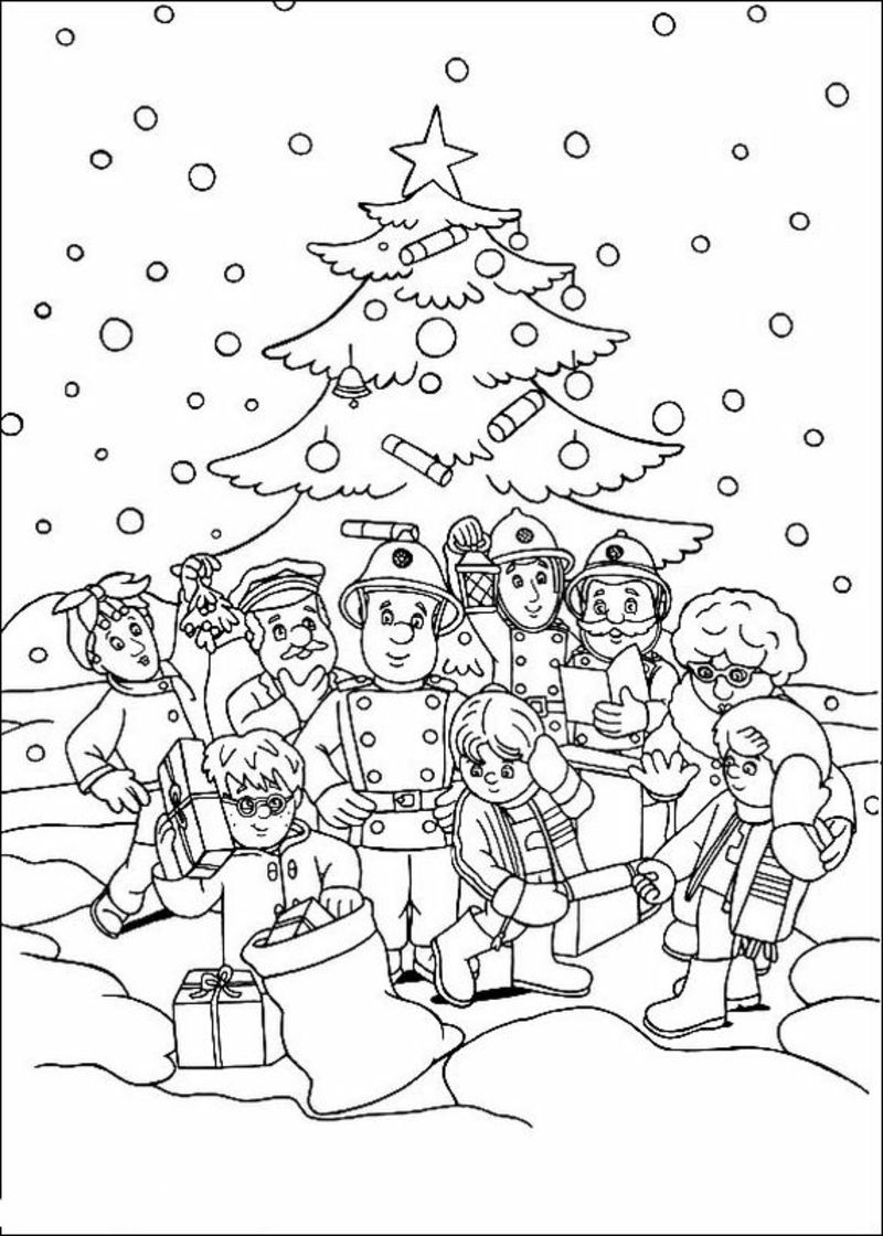 Ausmalbild Weihnachten Feiern Geschenke Für Alle
