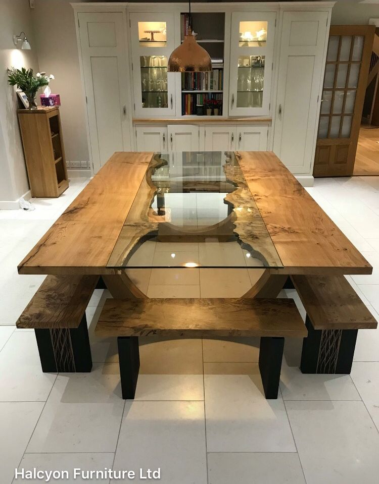 Absolutely Love This For The New Dining Room Instead Of A Bench Would Want Chairs Though Wooden Dining Table Designs Dining Table Design Dining Furniture #wood #living #room #table #sets