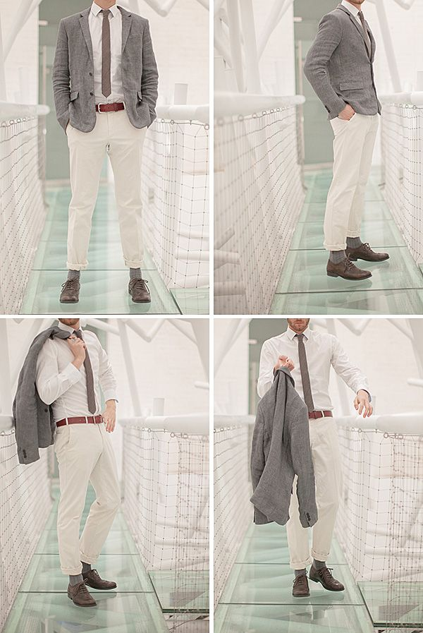 groom style, linen...just not rolled up
