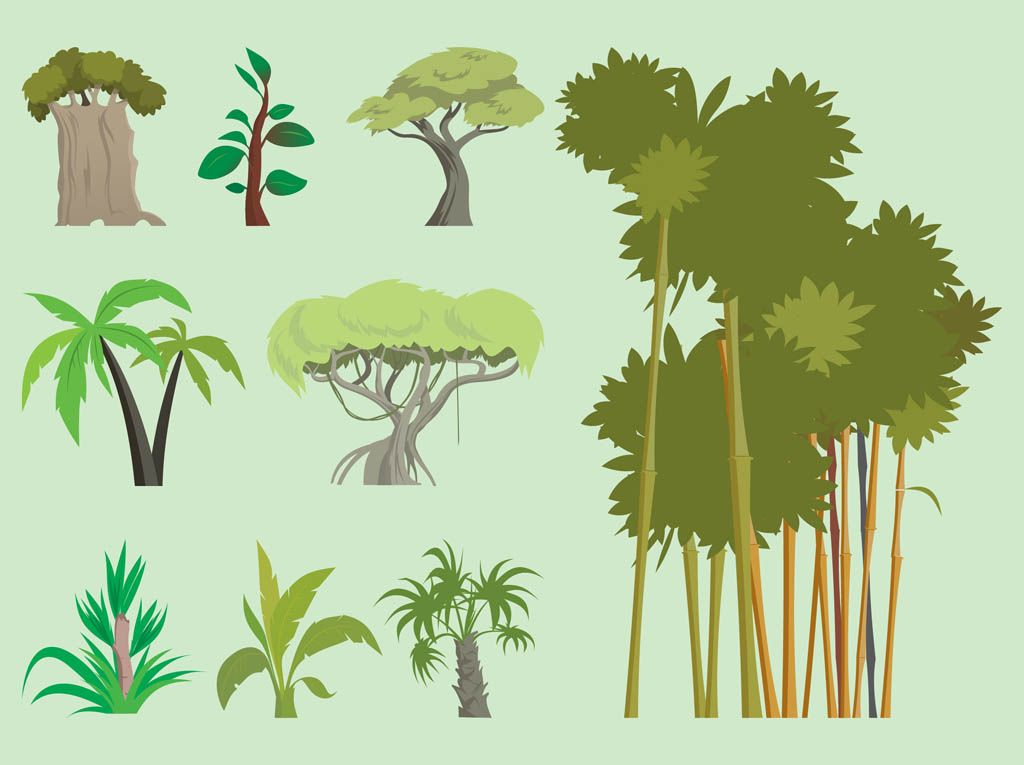 Jungle Trees Vector tree shapes | Art and Inspiration | Pinterest ...