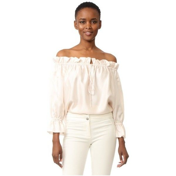 Temperley London Tempest Off Shoulder Blouse (1,015 BAM) ❤ liked on Polyvore featuring tops, blouses, powder, 3/4 sleeve tops, 3/4 sleeve blouse, white off shoulder blouse, white off the shoulder top and white top