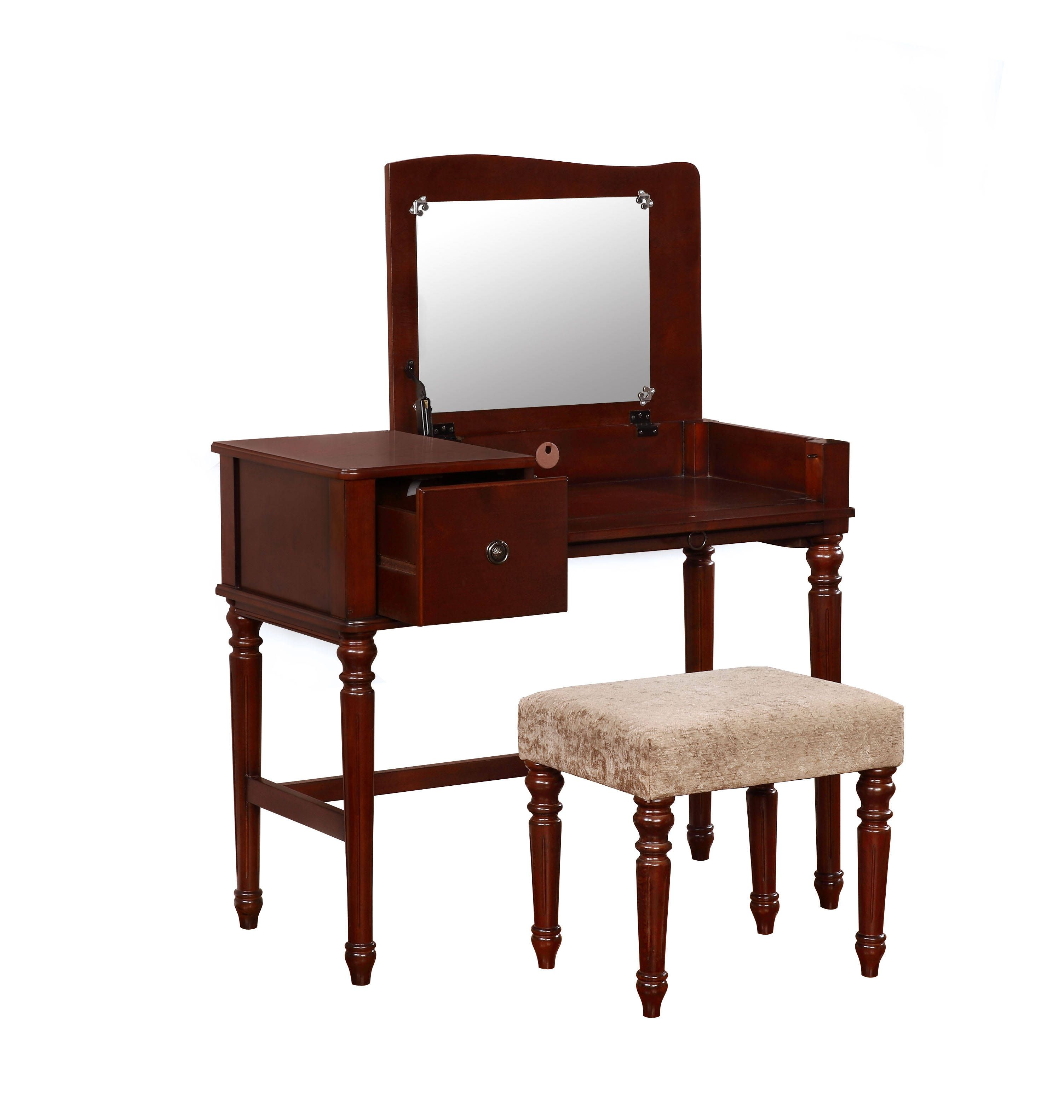 Wyndham beige fabric walnut mdf solid wood mirror vanity set