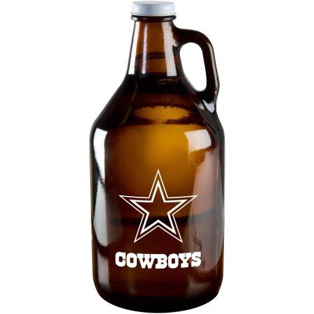 Boelter Brand NFL 64-Ounce Amber Growler Glass, Dallas Cowboys, Brown