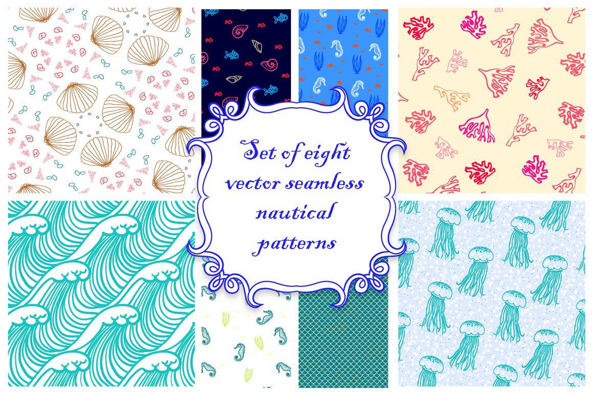 Set of vector nautical patterns by tukkki on Creative Market