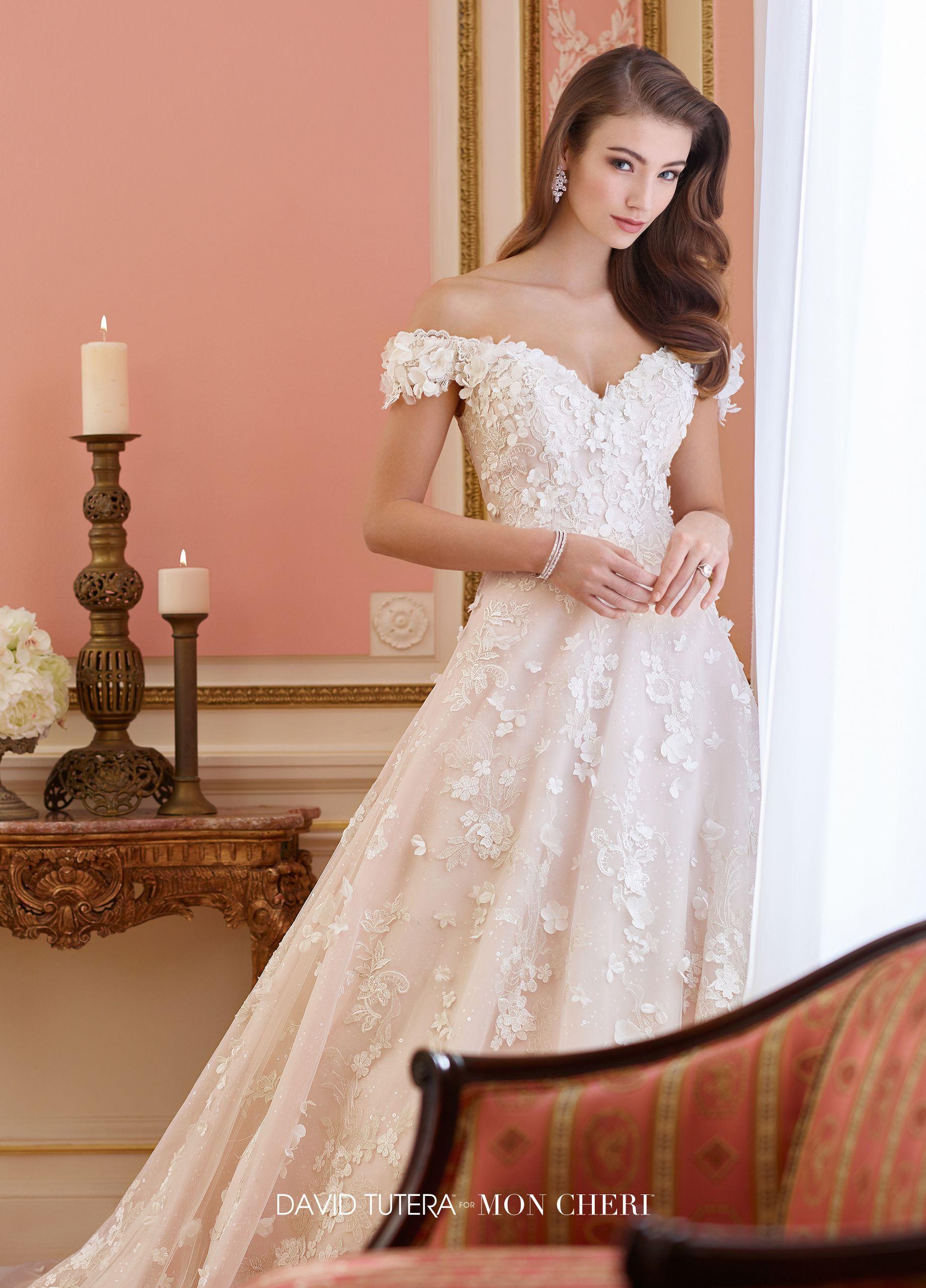 Lace offtheshoulder sweetheart aline wedding dress elnora