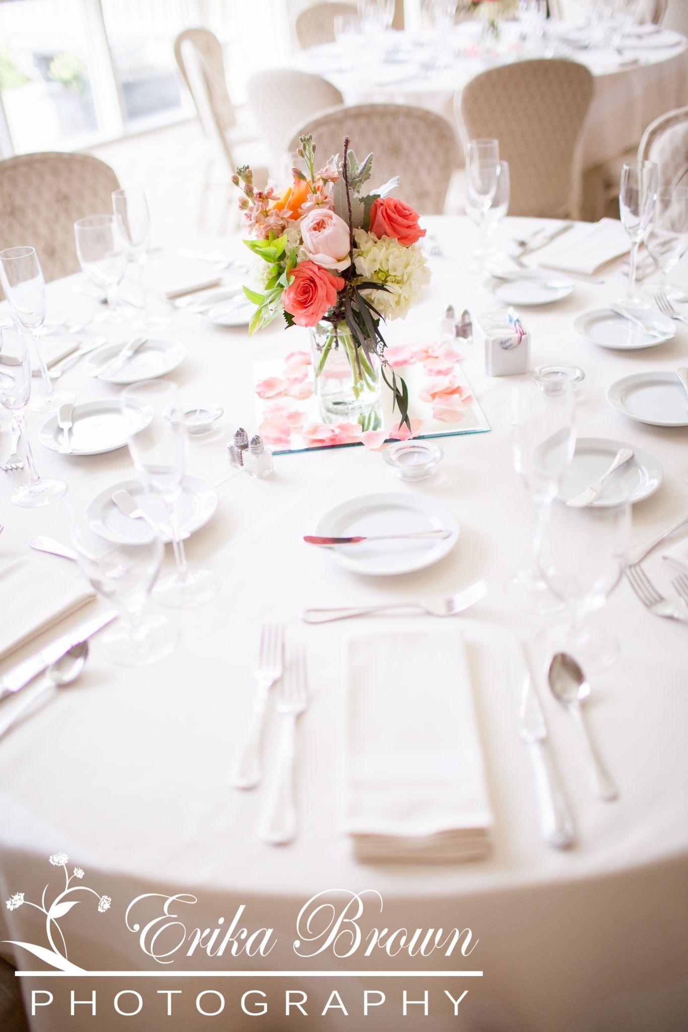 Mason Jar Centerpiece with Hydrangea, Roses, Stock. | Wedding ...