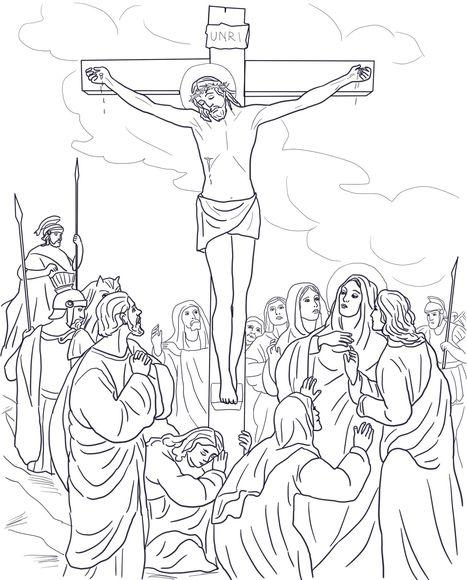 Twelfth Station Jesus Dies On The Cross Coloring Page Cross Coloring Page Sunday School Coloring Pages Jesus Coloring Pages