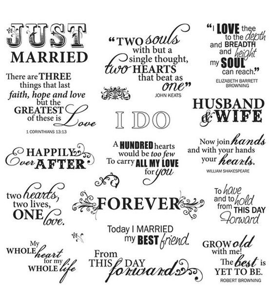 Fiskars Quotes Clear Stamps Just Married Wedding Hacks Pinterest Unique Just Married Quotes