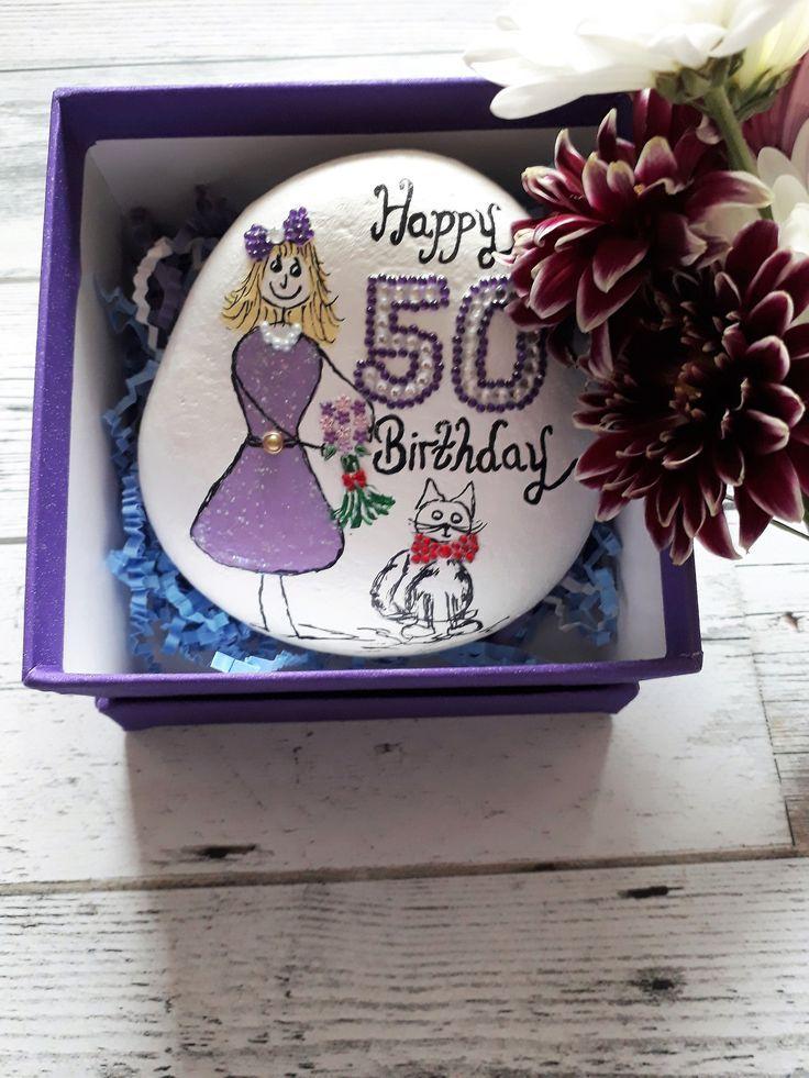 Personalised 50th birthday keepsake pebble, 50th gifts