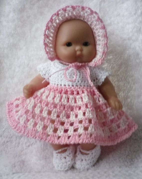 Crochet pattern for Berenguer 5 inch baby doll - dress, bonnet, knickers and shoes