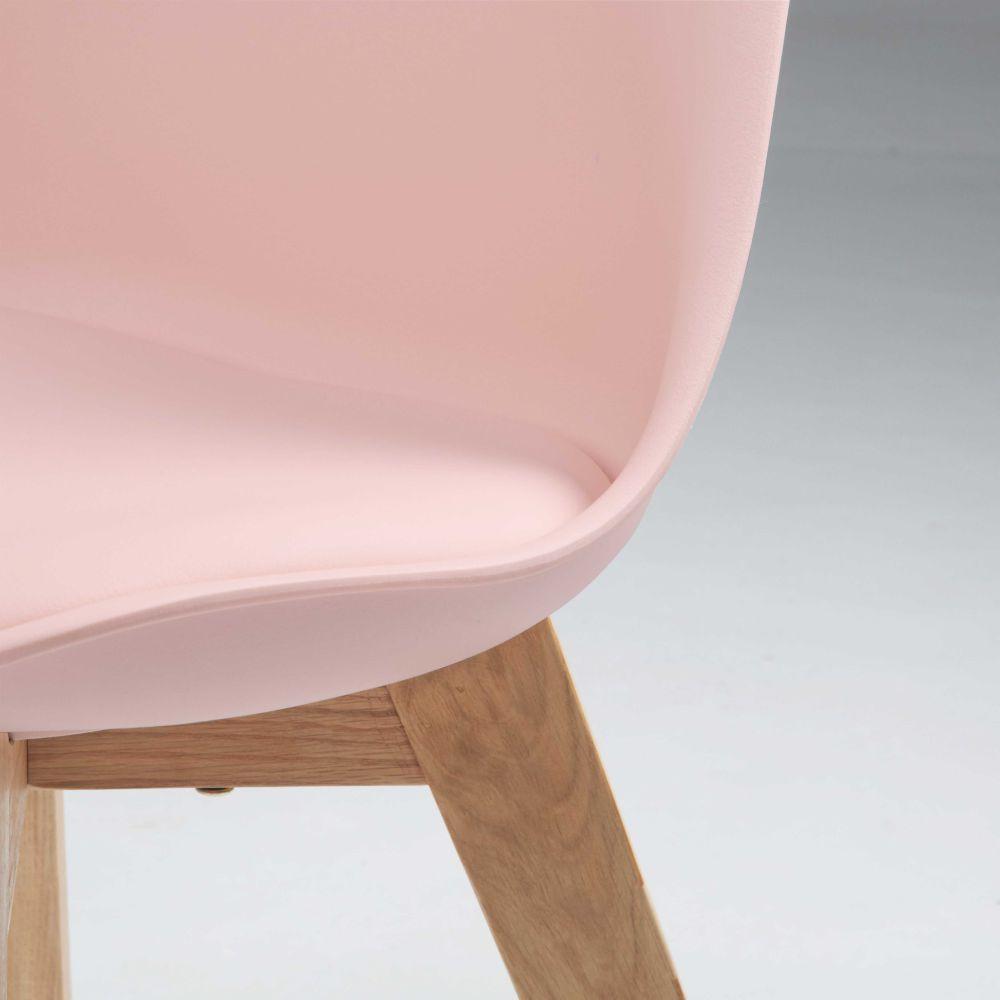chaise scandinave rose pastel et chne massif maisons du monde - Chaise Scandinave Rose