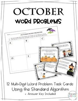 October Word Problems: Multi-Digit Word Problems Using the