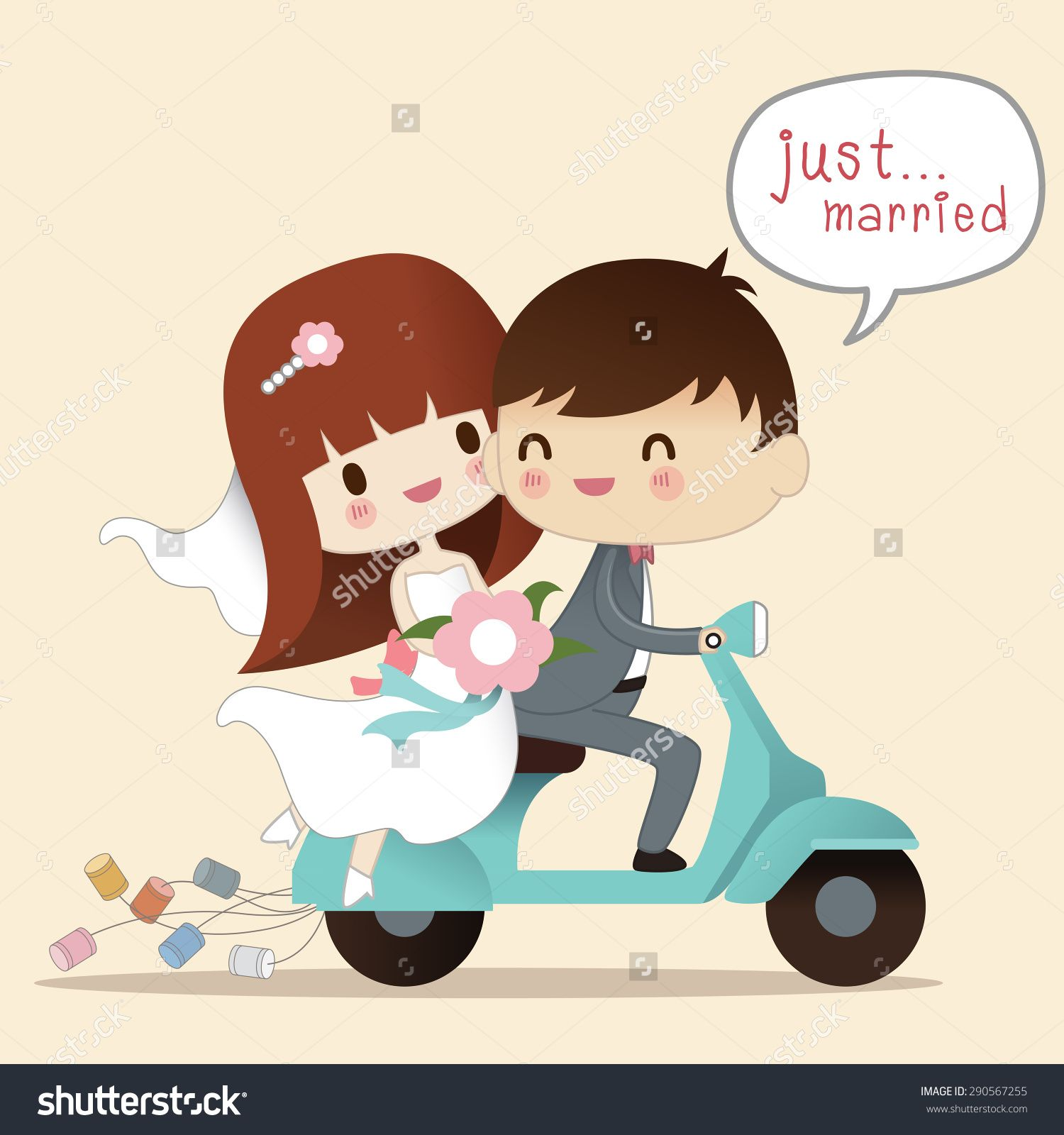 ecab00635db9 Wedding Illustration. Just Married. Groom And Bride On The Motorcycle  ,Vector Illustration - 290567255 : Shutterstock