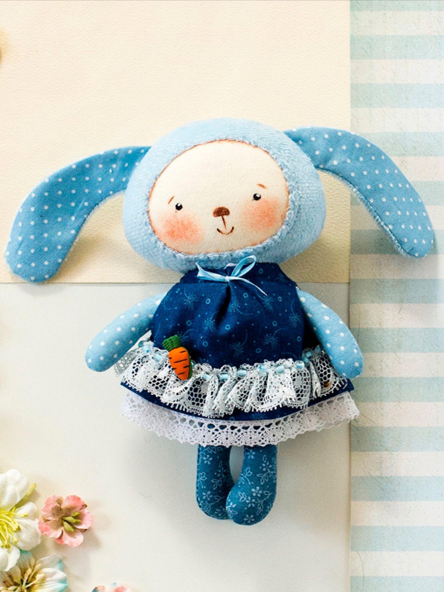 blue baby rabbit soft plushie stuffed plush cloth bunny newborn rag doll fabric animal nursery decor Textile organic bunny softie toy