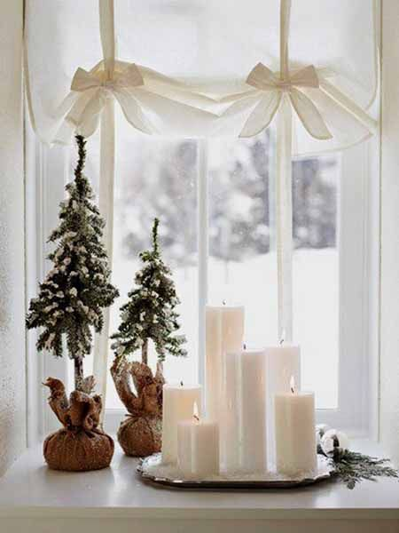 window sill decorating ideas for winter holidays and new years eve party - Christmas Window Sill Decorations Ideas