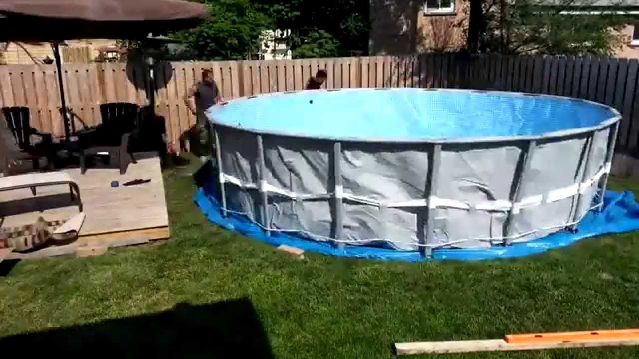 Ground prep and intex pool installation pools pool - Above ground swimming pools installation ...