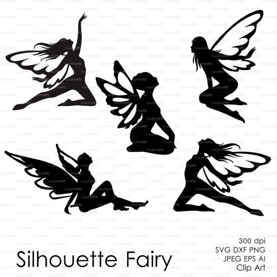 Fairy Butterflies Silhouette Eps Svg Dxf Ai Png