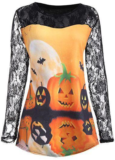e99834b7 I Want This > Lace Panel Pumpkin Print Orange Halloween Blouse - AdoreWe.com