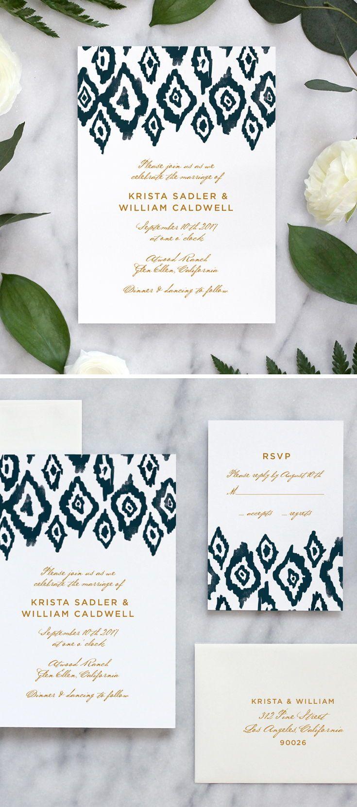 Ikat Watercolor Wedding Invitations | Weddings, Beautiful wedding ...