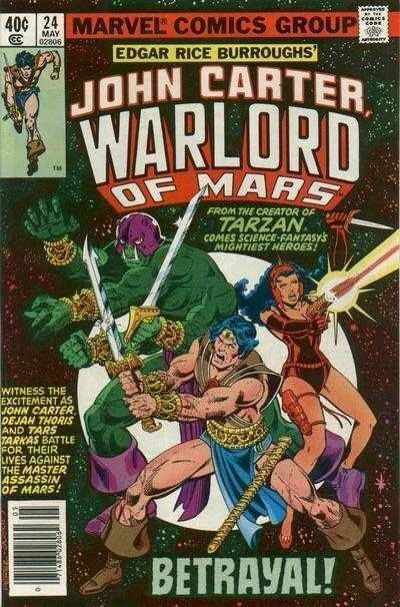 The story opens with Dejah Thoris in a sword battle with a huge green Thark--Tars Tarkas. She is determined to free her husband, John Carter, or die! Tars Tarkas stuns Dejah Thors, breaks the chains on John Carter, and the there disappear on a space flier into the night sky, headed for Helium. The trio is attacked on the ship and Dejah Thoris is kidnapped.