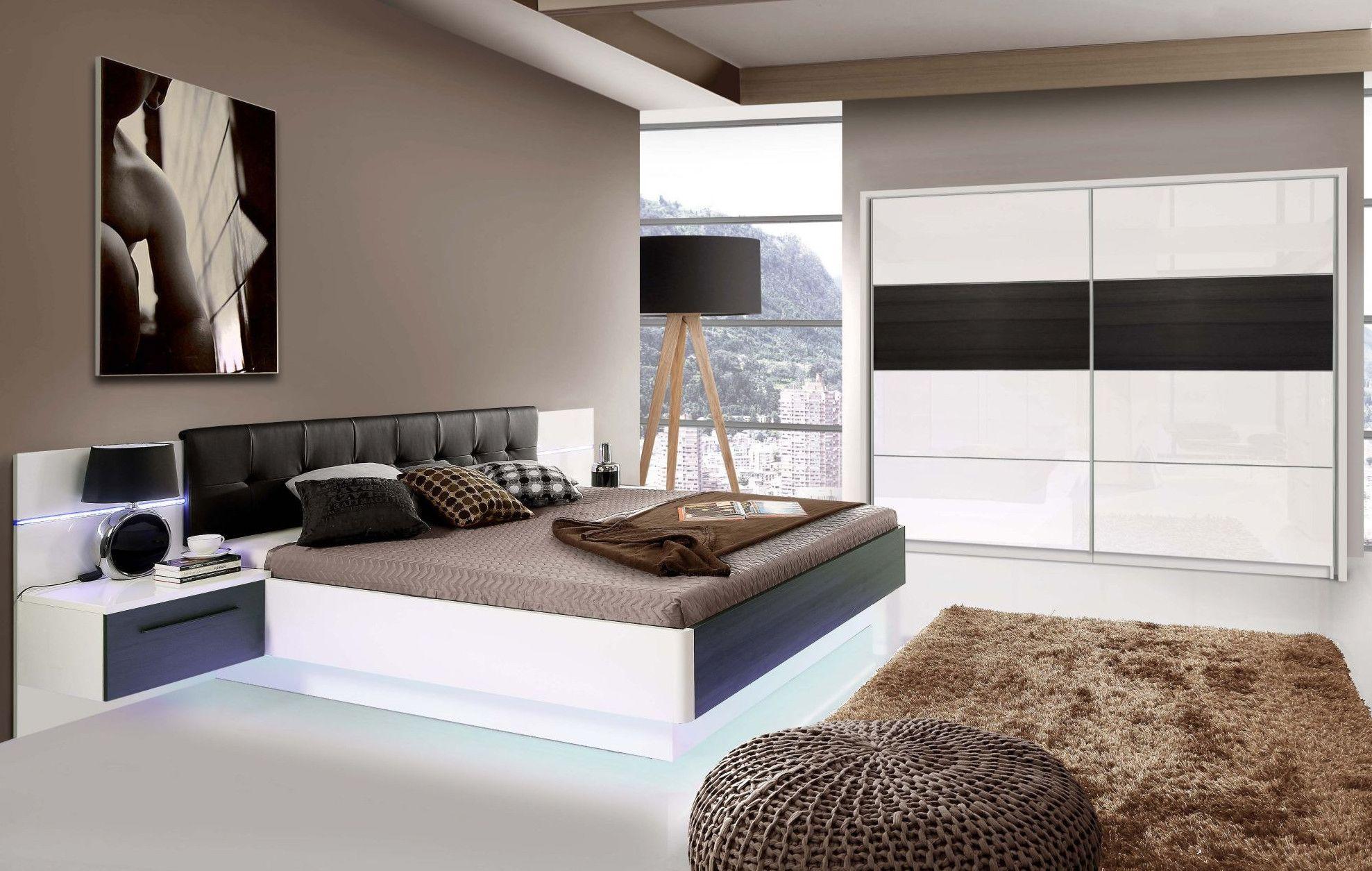 Schlafzimmer Mit Bett 180 X 200 Cm Weiss Hochglanz/ Schwarz Eiche Woody  77 00660 Holz Modern Jetzt Bestellen Unter: ...