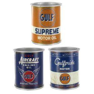This Set Of Mini Gulf Motor Oil Tin Cans Set Will Adds An Old