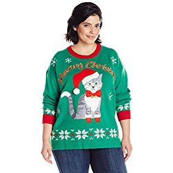 3x Ugly Christmas Sweater.Blizzard Bay Women S Plus Size Meowy Christmas Cat Ugly