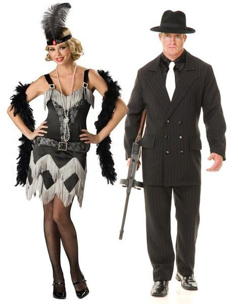 flapper and gangster costumes - Halloween Mobster Costumes
