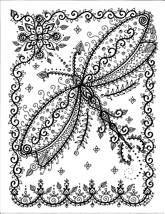 Dragonfly Coloring Colouring Printable Adult Advanced Detailed Instant Download Pages Buttefly By ChubbyMermaid On Etsy